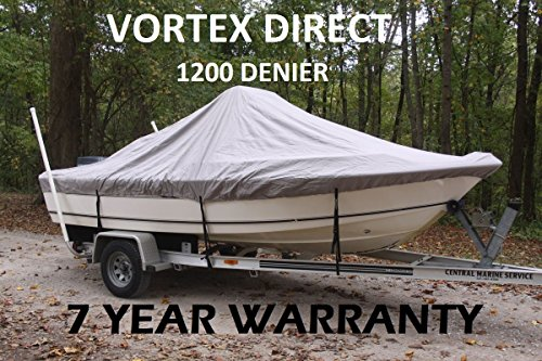 VORTEX 1200D SUPER HEAVY DUTY GREY / GRAY CENTER CONSOLE BOAT COVER FOR 18'7″ – 19'6″ BOAT (FAST SHIPPING – 1 TO 4 BUSINESS DAY DELIVERY)