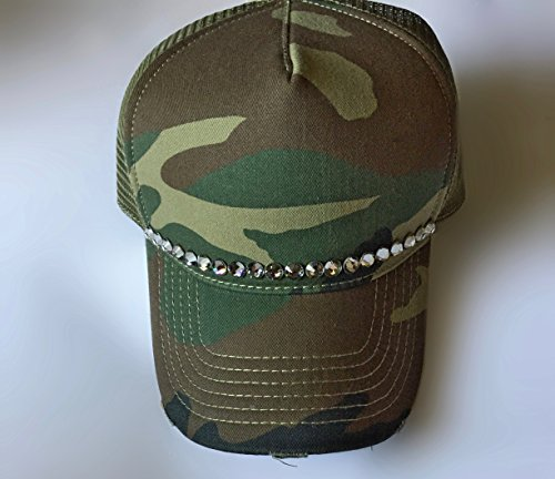 Cotton Cap Swarovski (Trucker Hat for Women Green Camouflage Smoke Black Diamond Crystal Swarovski Stones, by It's Crystalicious)