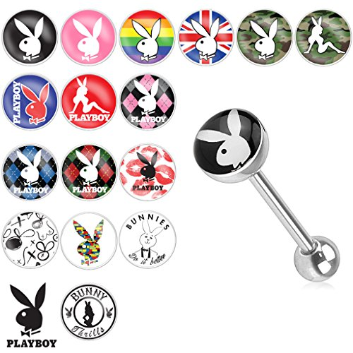 {PB Bunny/Red Green Argyle} Playboy Bunny Logo Print Inlay 316L Surgical Steel Barbell (Sold Indiv.) (Bioplast Green Gemstones)