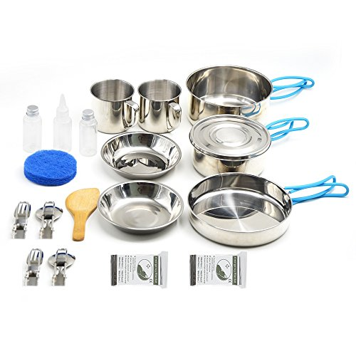 VENNOBIA Small Camping Cookware,11 Pieces Gift+9 Pieces Stainless Steel Mess Kit Backpacker Camper & Hiking Outdoors Bug Out Bag Cooking Set - Lightweight, Compact & Durable Pot Pan (2 Person) (Best Mess Kit For Bug Out Bag)