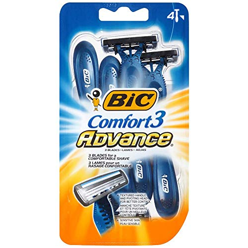 Bic Comfort 3 Advance Shaver, Disposable 4 ea (Pack of 10) ()