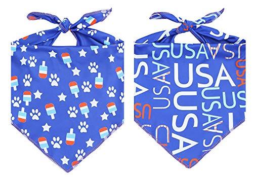 - 2 Pack USA American Flag Dog Bandana,Patriotic 4th of July Triangle Bibs Pet Scarf
