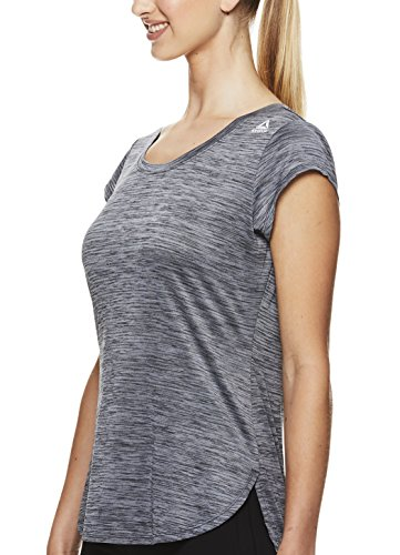 Reebok Women's Legend Performance Short Sleeve T-Shirt with Polyspan Fabric,Black Heather,X-Small by Reebok (Image #2)