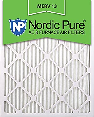 Nordic Pure 16x25x1M13-6 16x25x1 MERV 13 Pleated AC Furnace Air Filter, Box of 6, 1-Inch