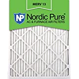 Nordic Pure 16x25x1M13-12 16x25x1 MERV 13 Pleated AC Furnace Air Filter, Box of 12, 1-Inch