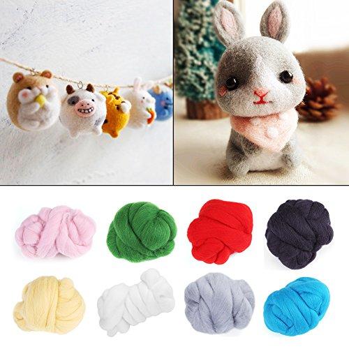 Needle Felting Starter Kit 1 Roll Colorful Felting Wool Roving Hand Spinning Sewing Trimming Merino Wool Fibre(White)
