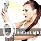 Photo Shoot Selfie Ring Light Clip for iPhone iPad QIAYA®[Portable] Girl Night Light [36 LED Light Bulbs]for Perfect Face Slimming Brightness, White
