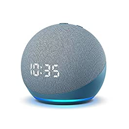 All-new Echo Dot with clock (4th Gen) – Twilight Blue – bundle with TP-Link Smart Plug (Certified for Humans product)