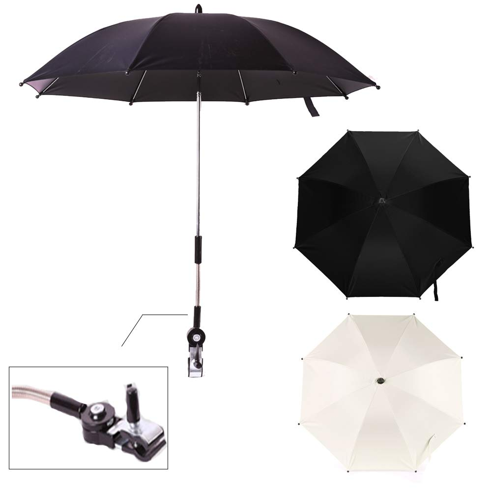 SOXDirect Baby Stroller Umbrella Sun Shade Parasol UV Protection Detachable with Universal Adjustable Clamp for Pushchair/Bicycle/Wheelchair (Black)