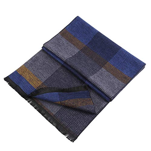 Cold Weather Scarves Scarves Men's Scarf Long Scarf Thick Double Sided Scarf Autumn Winter Scarf Silk Scarf Soft Warm (Color : Blue, Size : 176300.3cm)