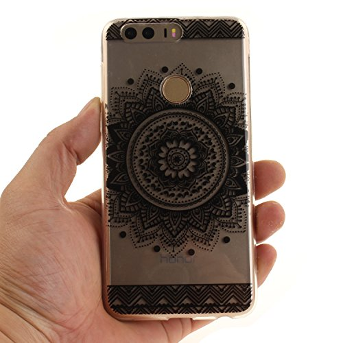 Ecoway TPU Funda Case for Huawei Y6 II/ Huawei Y6 2/ Huawei Honor 5A , Ultra Thin Carcasa Anti Slip Soft Bumper Scratch Resistant Back Cover Crystal Clear Flexible Silicone Case Parachoques Carcasa Fu Mandala negro