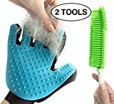 [RIGHT HANDED] Pet Grooming Glove AND Pet Hair Remover Brush - Best Fur Removal And Deshedding Tools For Dogs - Cats - Rabbits - Horses - Bunny Rabbits