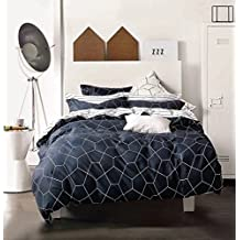 Minimal Style Geometric Shapes Duvet Quilt Cover Modern Scandinavian Design Bedding Set 100-percent Cotton Soft Casual Reversible Block Print Triangle Pattern (Queen, Dark Slate)