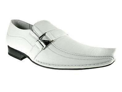 730684a0e1 Delli Aldo Men s 19231-White Buckle Square Slip on Loafers