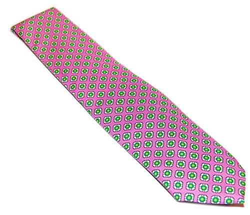 (Polo Ralph Lauren Mens Satin Silk Dress Tie Italy Pink Green Yellow White Floral)