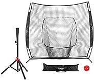 Pinty Baseball and Softball Practice Net 7'×7' Portable Hitting Batting Training Net with Carry Bag &a