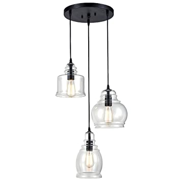CLAXY Ecopower Vintage Kitchen Linear Island Glass Chandelier Pendant  Lighting Fixture 3 Lights