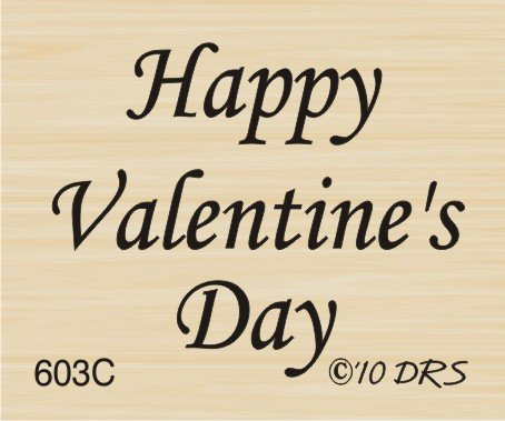 Happy Valentines Day Rubber Stamp (Small Valentine's Day Greeting Rubber Stamp By DRS Designs)