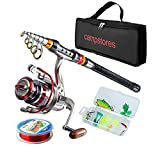 Cheap ministoream Rod and Reel Combos Carbon Fiber Telescopic Fishing Rod with Reel Combo Sea Saltwater Freshwater Kit Fishing Rod Kit (2.1M 6.89Ft)