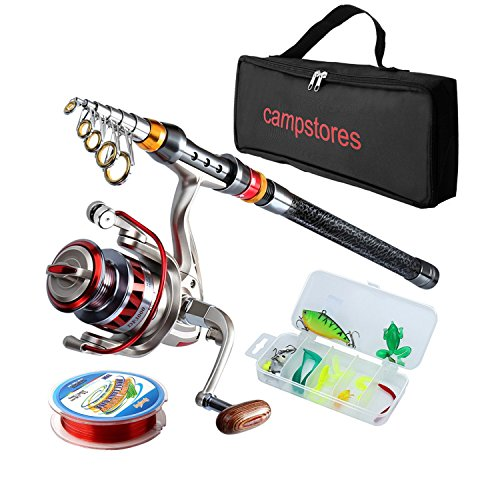Kit Telescopic Fishing (ministoream Rod and Reel Combos Carbon Fiber Telescopic Fishing Rod with Reel Combo Sea Saltwater Freshwater Kit Fishing Rod Kit (2.1M 6.89Ft))