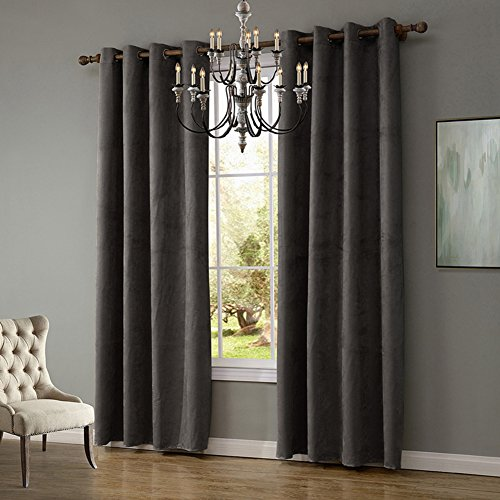 JackLook Solid Grommet Top Thermal Insulated Window Blackout Curtains for Bedroom 2 Panels 55