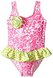 Flap Happy Little Girls UPF 50+ Serena Contrast Swimsuit with Ruffle Skirt, Hula Hibiscus, 4