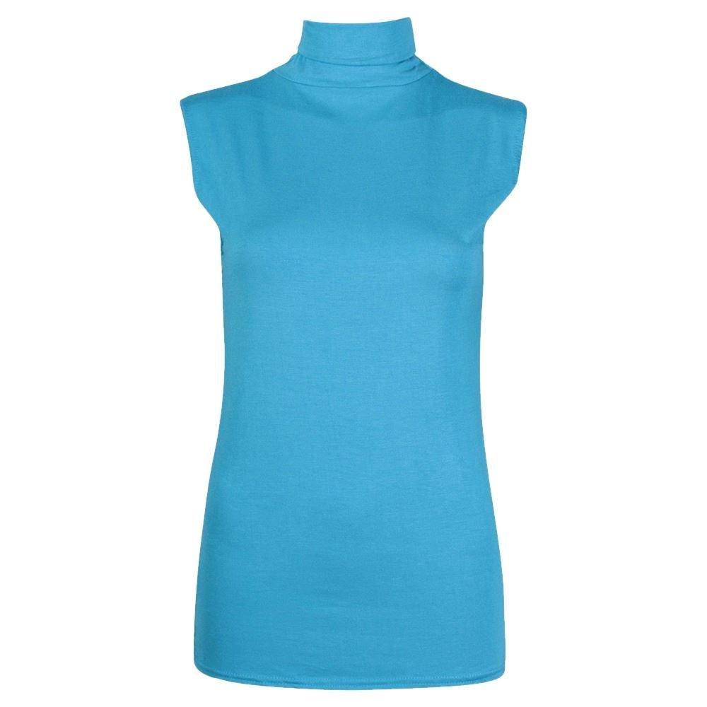 New Ladies Plain Stretch HighPolo Turtle Neck Sleeveless Vest Jersey T-Shirt Top