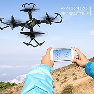 AKASO Drone Quadcopter with 720P HD Camera FPV Drones, APP Live Video 2.4GHz 6-Axis Gyro, Foldable Arms, Altitude Hold Quadcopter Drones for Beginners ( A200 2018 Version) from AKASO