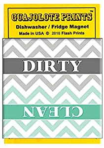 Clean Dirty Dishwasher Magnet Turquoise and Gray Stylish Kitchen Chevron Stripes