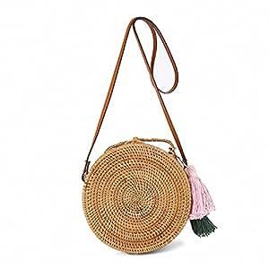 Beach bag Circle Straw Bags tassel Rattan Bag Women Small Handbag Handmade Crossbody