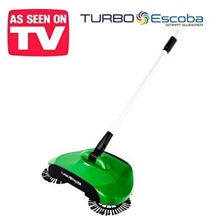 Turbo Smart Sweeper - Escoba giratoria de triple cepillo con movimiento giratorio a 360°,