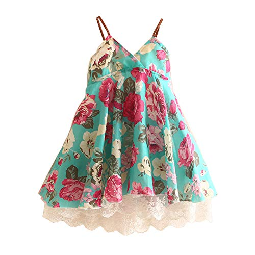 LittleSpring Little Girls Beach Dress Sleeveless Lace Floral Dress 5 Mint Green Summer