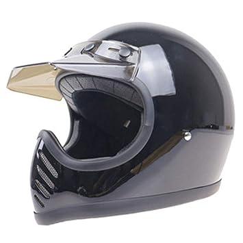 YSH Cara Completa Casco De La Motocicleta Retro Vintage Thompson Capacetes Motociclista Off Road Jet Cascos para Moto Hombres Mujeres,Black-M57-58cm: ...