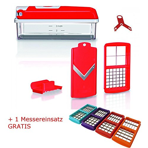Genius Nicer Dicer kompakt rot 5 tlg.+ 1 gratis Messereinsatz