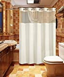Conbo Mio Hookless Shower Curtain with Snap in Liner for Bathroom Waterproof Rust Proof with Premium Magnet Flex On Rings (White, 71' x 74')