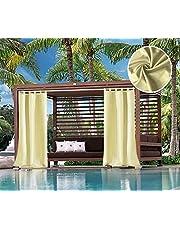 Domdil - Cortinas exteriores con presillas resistente para cenador, balcón, casa de la playa, opacas, impermeables, resistente al moho, 1 pieza, 132 x 215 cm, color beis