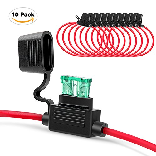 Nilight Inline Fuse Holder 14AWG Wiring Harness ATC / ATO 30AMP Blade Fuse Automotive Fuse Holder  - 10 Pack , 2 Years Warranty