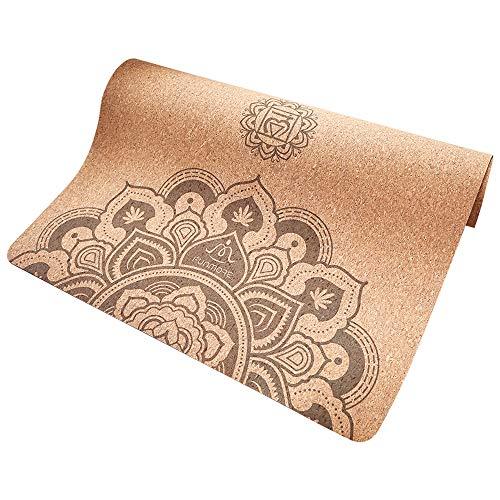 FUN MORE Cork Yoga Mat,Natural Rubber, Non-Slip,Eco-Friendly with Carrying Strap, Non-Toxic, 72