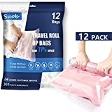 Suob 12 Pack Travel Storage Bags, No Vacuum or Pump Needed Travel Compression Bags (6 x Large, 6 x Small) Roll up Storage Bags for Clothes, Luggage