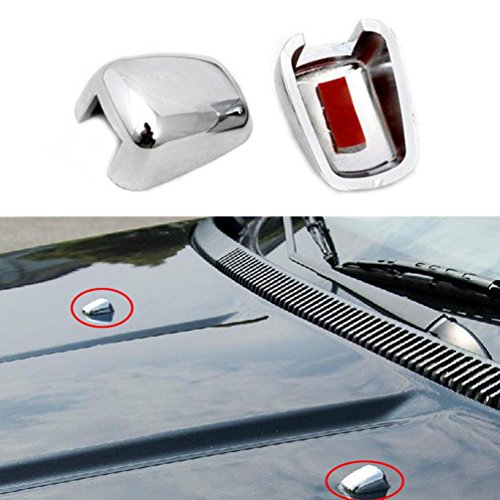 2PCS Chrome Front Wiper Spray Nozzle ABS Windshield Wiper Washer Silver Spray Cover Water Trim for 2007-2016 Jeep Compass, Jeep Patriot, Cherokee, Grand Cherokee