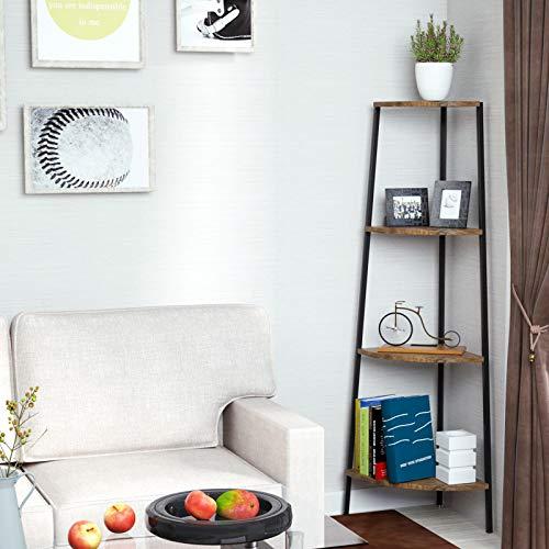 4-Tier Corner Shelf Metal Home Rack Bookcase Plant Display Stand Natural