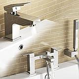 iBathUK | Chrome Basin Sink Mixer Tap + Bath Filler Hand Held Shower Head Set TP32081