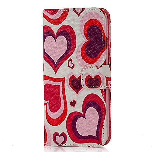 """Flip Case Cover Wallet Folio Schutzhülle für iPhone 6 4.7"""" Zoll Pink Rot Herz Design Weiß Tasche Ledertasche Hülle Handyhülle Etui Schale Backcover im Bookstyle mit Standfunktion Kredit Kartenfächer"""