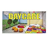 Daycare #1 Outdoor Fence Sign Vinyl Windproof Mesh Banner With Grommets - 2ftx3ft, 4 Grommets