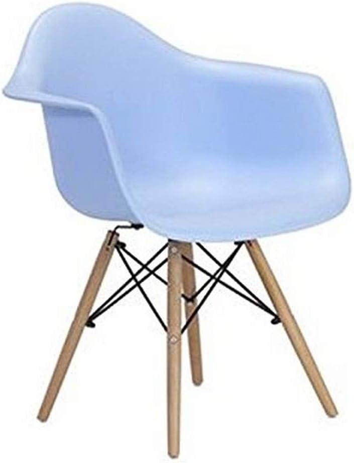 Meubles House PC-0119-LB Mid-Century Modern Eiffel Style Kids Bucket Chair with Chrome Legs Light Blue