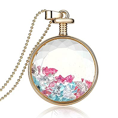 Amazon fm42 multicolor star shaped crystal in round glass fm42 multicolor star shaped crystal in round glass locket pendant necklace with 60cm bead chain fn2023 mozeypictures Choice Image