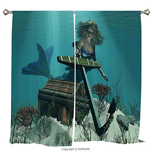 Rod Pocket Curtain Panel Thermal Insulated Blackout Curtains for Bedroom Living Room Dorm Kitchen Cafe/2 Curtain Panels/55 x 39 Inch/Mermaid,Mermaid in the Ocean Sea Discovering Pirates Treasure Chest