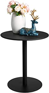 HollyHOME Round Metal Anti-Rust End Table, Accent Small Snack Waterproof Side Table, Modern Patio Stand Outdoor&Indoor Cafe Table for Home Bistro, (H) 18.11