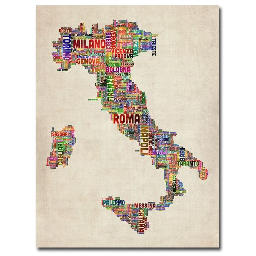 Italy II by Michael Tompsett, 18x24-Inch Canvas Wall Art (Italy Map Poster)