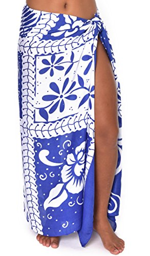 Tropical Plants Patchwork Hawaii Sarong Pareo BeachWrap Swimsuit Coverup Blue/ White